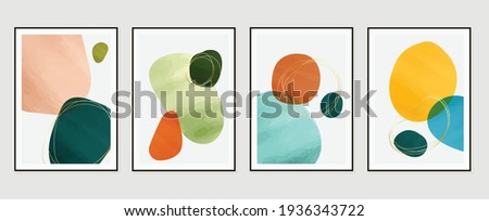 Abstract art background vector. Modern Nature shape line art wallpaper.  Minimalist hand painted illustrations with watercolor stain texture for home deco, wall art, Social media story background.
