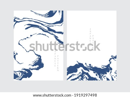 Abstract art background with contemporary art template vector. Water surface elements with Japanese wave pattern decoration. Hand drawn ocean object.