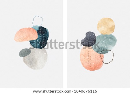 Abstract art background with contemporary art template vector. Watercolor texture elements.