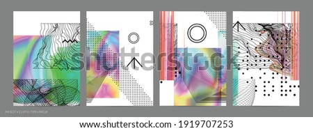 Abstract art background with geometric sci-fi elements. High-tech cyberpunk technology of virtual reality. Computer generated science models with hologram. Modern Gothic flyer template.