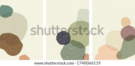 Abstract art background with Japanese wave pattern vector. Art acrylic pattern in vintage style.