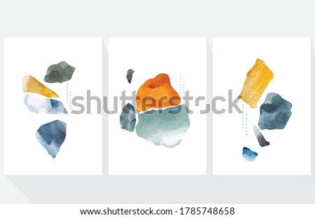 Abstract art background with Japanese wave pattern vector. Watercolor painting brush texture decoration template illustration. Stone and rock elements.