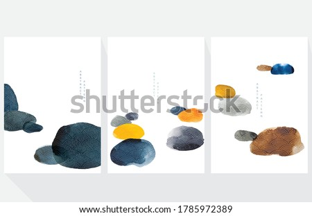 Abstract art background with Japanese wave pattern vector. Watercolor painting brush texture decoration contemporary  art style. Stone and rock elements