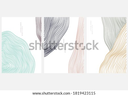 Abstract art background with line pattern vector. Art landscape template with geometric elements.