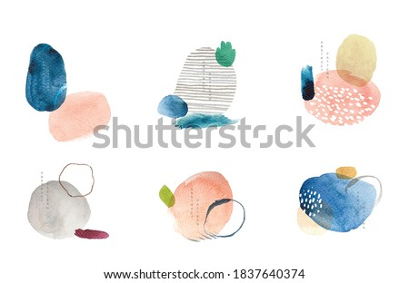 Abstract art background with Logo and icons grunge texture vector. Painting brush element decoration with art acrylic object.