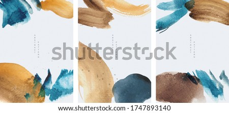 Abstract art background with watercolor brush stroke texture vector. Hand painted elements with Japanese ocean wave pattern.