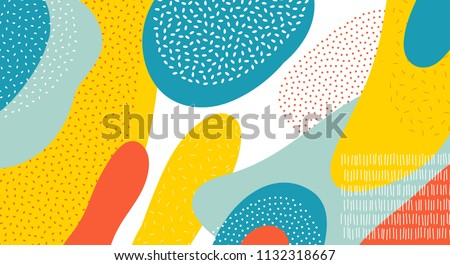 Abstract art color vector pattern background of colorful oval or circle shapes with Memphis dots and lines design