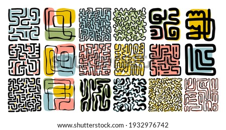 Abstract art composition. Labyrinth.  Minimalist hand drawn style. Modern tendy poster, cover, wall art, packaging design. Different curly lines, swirls.