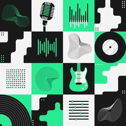 Abstract art composition with various geometric shapes, objects and musical instruments. Poster design. Music concept. Graphic design for backdrop, banner, brochure, leaflet or signboard