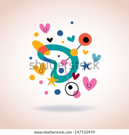 abstract art illustration with cute hearts