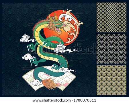 Abstract Art Japanese Flying Ferocious Gradient Green Dragon Roaring with Gradient Red Orange Sun, Moving Clouds, Windy Lines on Dark Diamond Repeat Pattern Vector Design for Wrapping Paper Stock photo ©