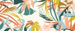 Abstract art nature background vector. Modern shape line art wallpaper. Boho foliage botanical tropical leaves and floral pattern design for summer sale banner , wall art, prints and fabrics.