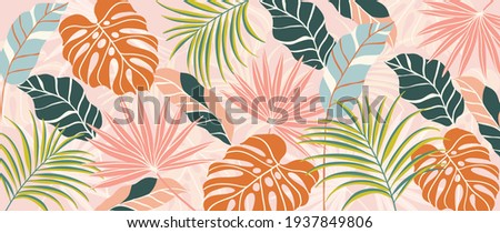 Abstract art nature background vector. Modern shape line art wallpaper. Boho foliage botanical tropical leaves and floral pattern design for home deco, wall art, social media post and story background