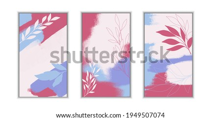 Abstract art nature background vector. Modern wallpaper line art shapes. Botanical tropical leaves social media posts and story background. Suitable for cover, invitation, banner, poster, brochure. Foto d'archivio ©
