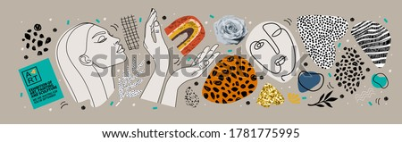 Abstract art objects for an art exhibition: music, literature or painting. Vector illustrations of shapes, portraits of people, hands, spots and textures for backgrounds