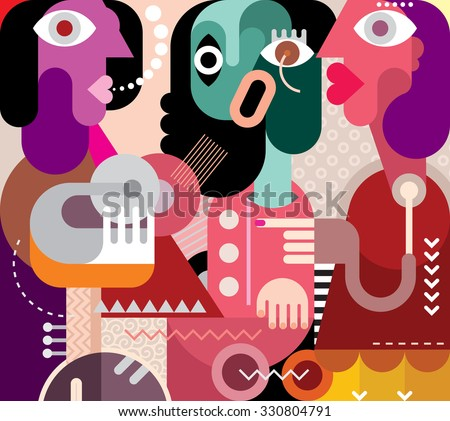 Stock Photo Abstract art portrait of three beautiful women. Graphic design vector illustration. Crying woman.