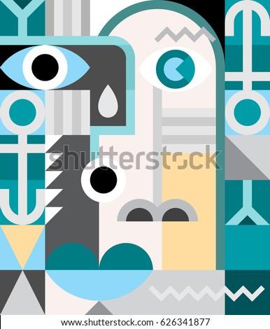 abstract art portrait vector