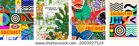 Abstract art poster. Vector trendy illustrations of geometric shapes, lines, faces and objects for modern background, flyer or card.