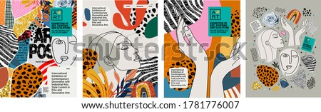 Abstract art posters for an art exhibition: music, literature or painting. Vector illustrations of shapes, portraits of people, hands, spots and textures for backgrounds