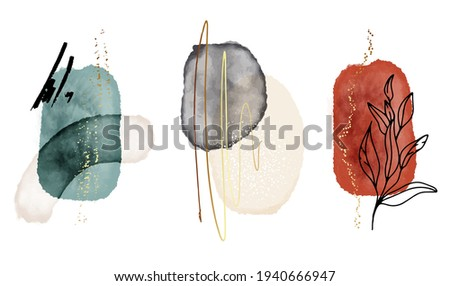 abstract art red blue background watercolor stain elements vector. Contrast Brush stroke texture decoration with art acrylic poster design and contour plants. Contemporary art wall decoration vector