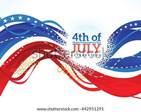 abstract artistic american independence day wave vector illustration - Shutterstock ID 442951291