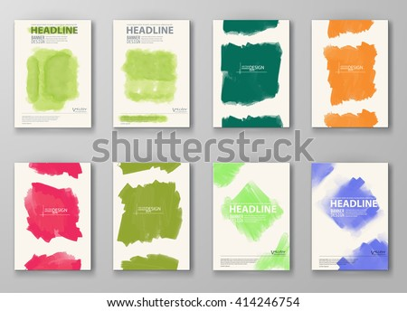 Abstract artistic Background set with watercolor element. Vector illustration.
