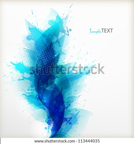 Abstract artistic Background  with floral element and blue  blots. Vector design.ink splattered background