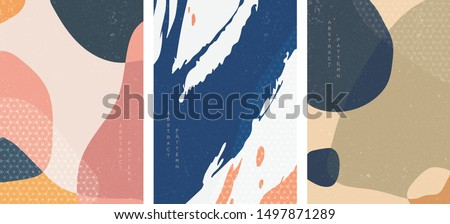 Abstract arts background with Japanese pattern vector. Art landscape with geometric template Brush stroke elements with Painting poster design.