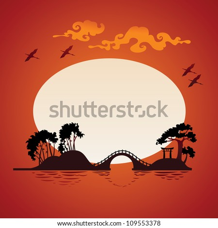 Abstract asian landscape - sunset