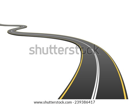 Abstract asphalt road going to the distance isolated on white background.