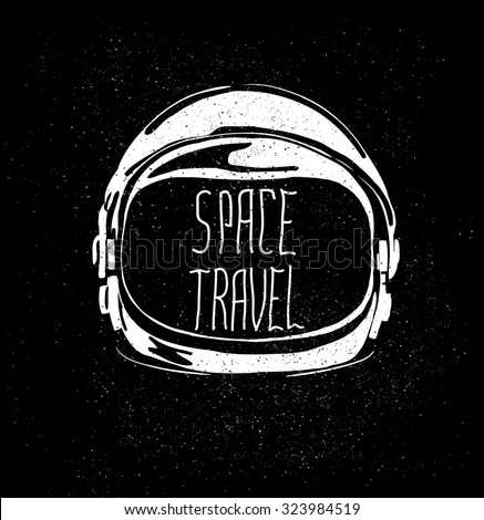 Stock Photo abstract astronaut helmet to space travel vector emblem isolated