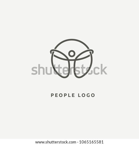 Abstract athlete logo vector design. Gym, sports games, fitness, business, trainer vector logo.  Active person with leafl logo. Fitness, sport web icon.