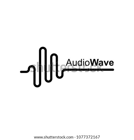 abstract audio or sound wave logo icon in black color