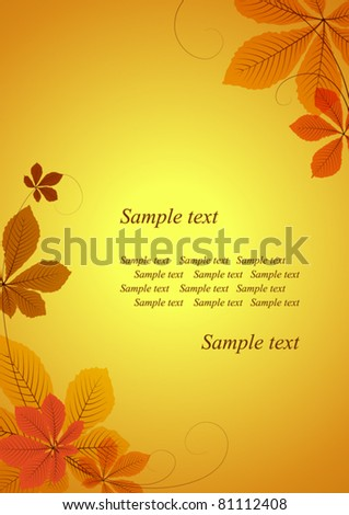 Abstract autumn background with chestnut leaves. Space for your text. EPS10 vector format. Raster version available in my portfolio - stock vector