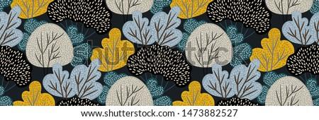 abstract autumn forest on dark