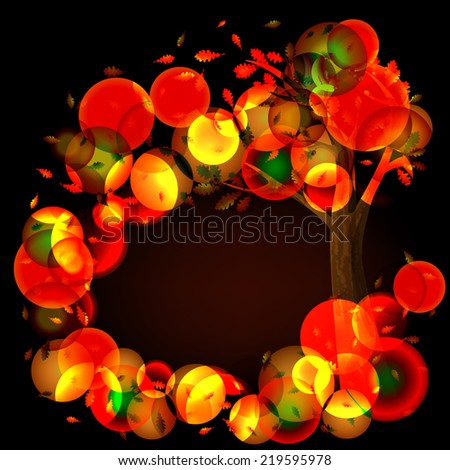 Abstract autumn landscape of trees and fallen leaves. Place for your text. Season backdrop. Autumn template. Vector illustration.