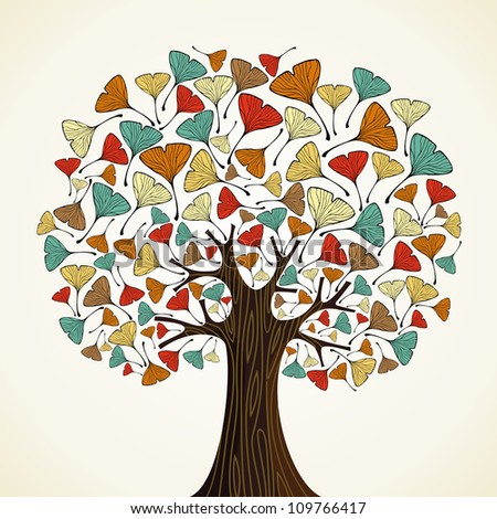 Abstract autumn time tree with ginkgo leaves. Vector illustration layered for easy manipulation and custom coloring.