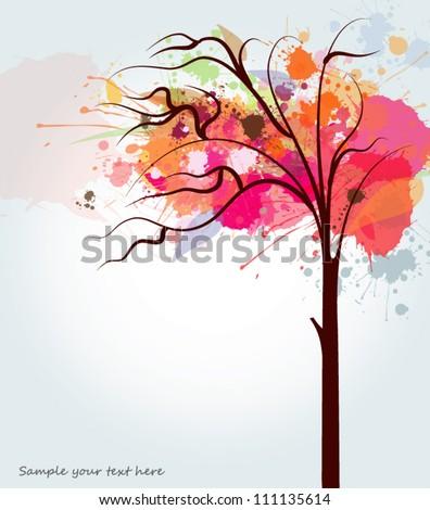 Abstract autumn tree - stock vector