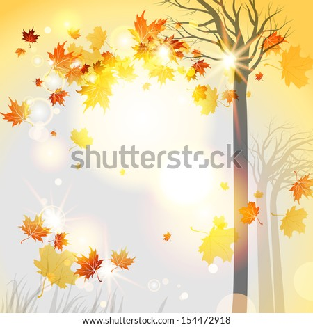 Abstract autumnal background with flying leaves and space for text