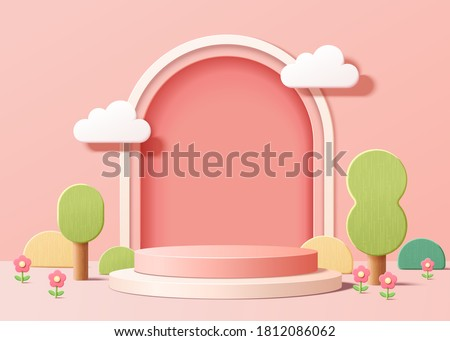 Abstract backdrop for product display, pink podium with trees and plants in 3d illustration