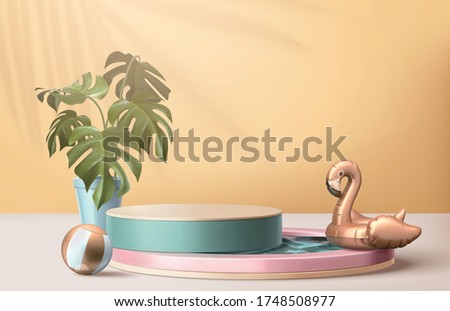 Abstract backdrop for summer product display, turquoise podium with swimming pool, flamingo swim ring and tropical potted plant, 3d illustration