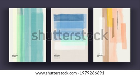 Abstract background. A set of vector pictures. Watercolor abstract backgrounds in pastel colors. Non-traced painting effects. Ideal for interior paintings, posters, covers or banners. Stock photo ©