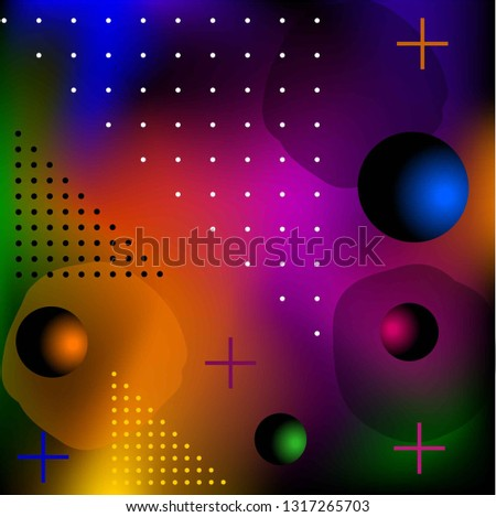 Abstract background. Black and color dots, crosses, 3d balls on a colorful background.