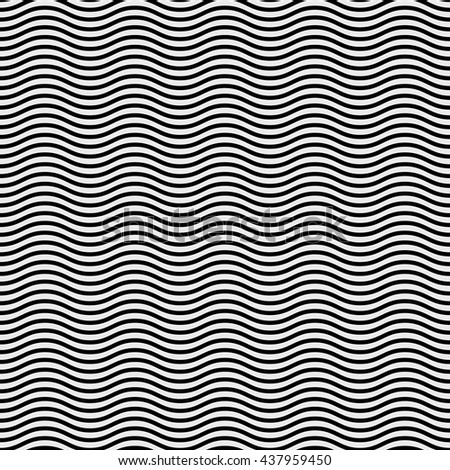 Abstract Background Black and White Horizonal Wavy Lines