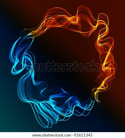 Abstract background blue and red, ice and fire over dark, vector, EPS10
