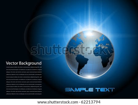Abstract background blue glowing earth globe, vector.