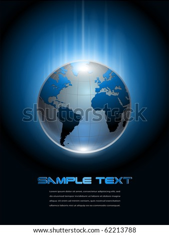 Abstract background blue glowing planet earth, vector.