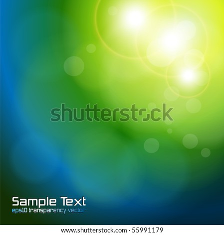 Abstract background blue green blurry lights.