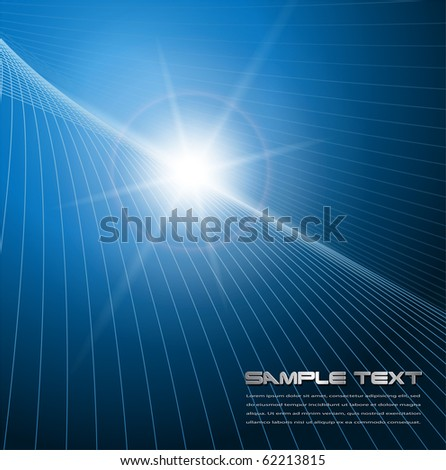 Abstract background blue star, vector.