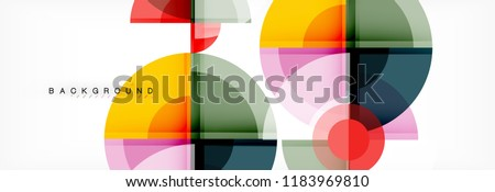 Abstract background bright circles geometric design, vector